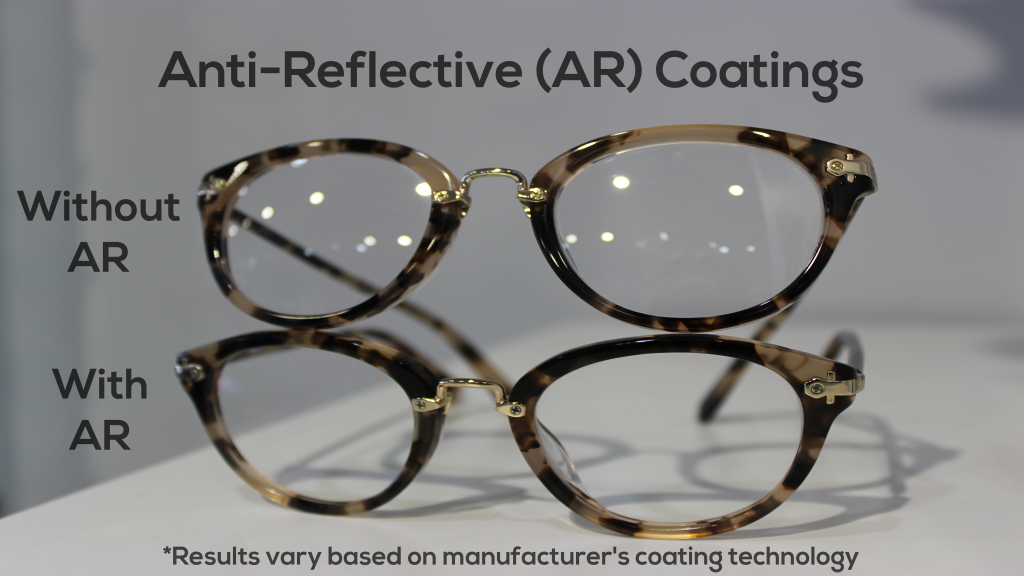 Here's an example of glasses with and without anti-reflective coatings