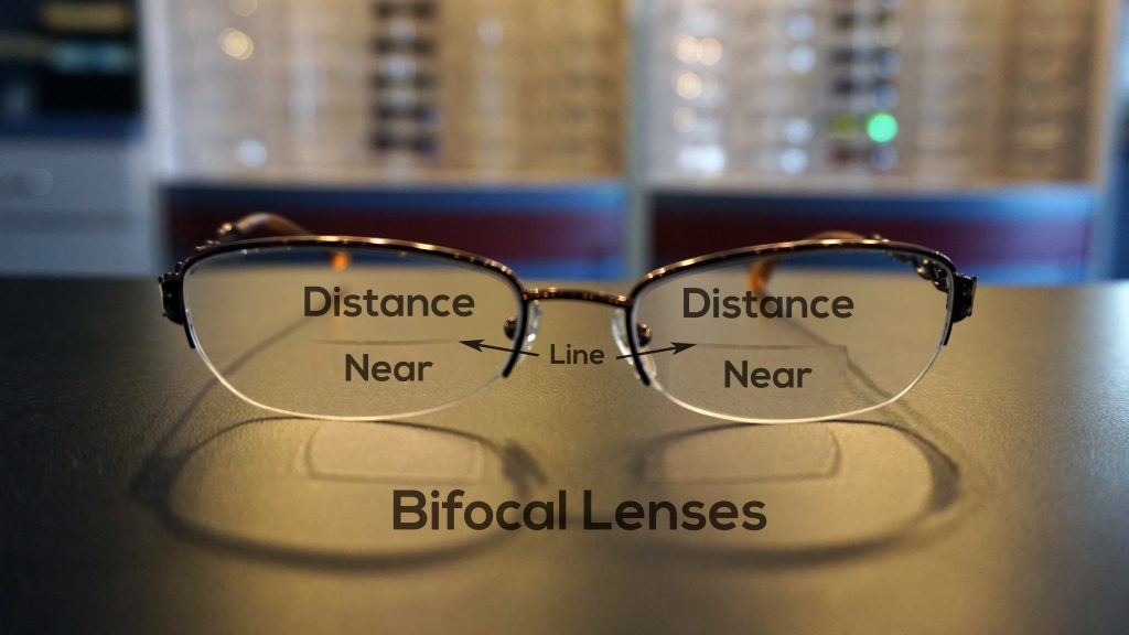 Bifocal lenses are separated by a visible line, where the top portion of the lenses are for your distance vision while the bottom portion is for your up close vision.