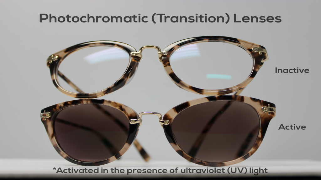 Example of photochromic lenses