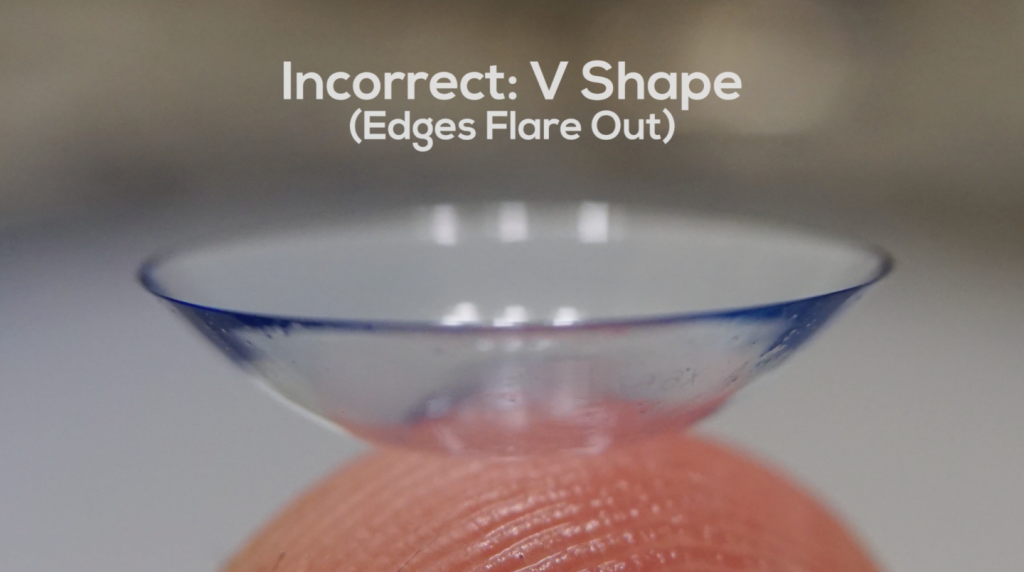 Contact lenses V shape (incorrect)