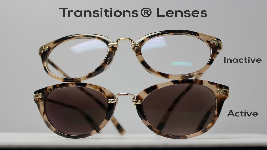 Here is an example of glasses with active and inactive Transitions lenses
