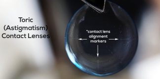 Here is what soft toric contact lenses look like up close.