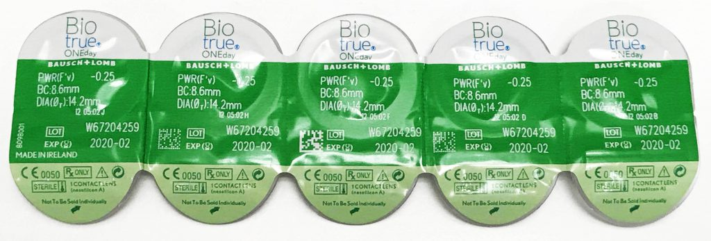 Biotrue ONEday contact lenses blister pack