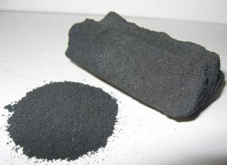 Activated charcoal in powder and block form.