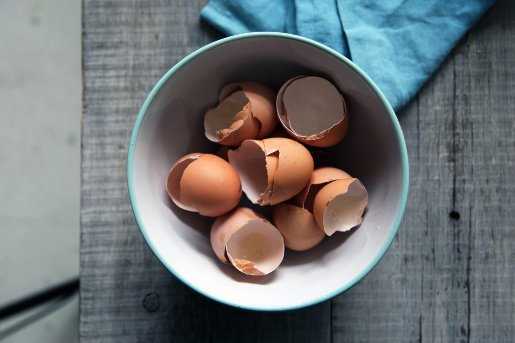 Eggshells can be recycled to reduce food waste.