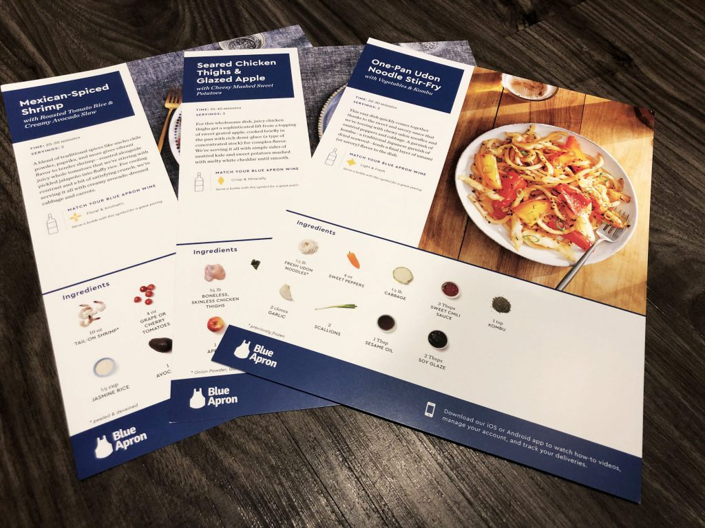 Blue Apron Meal Cards